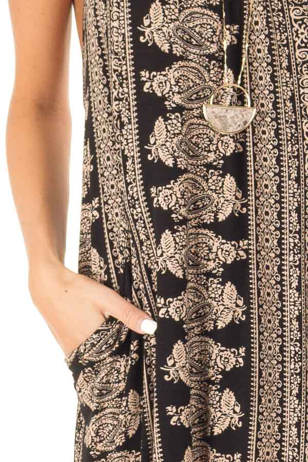 Taupe and Black Boho Print Maxi Dress with Pockets detail