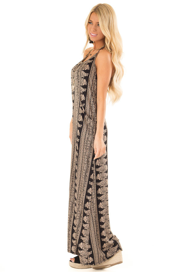 Taupe and Black Boho Print Maxi Dress with Pockets side full body