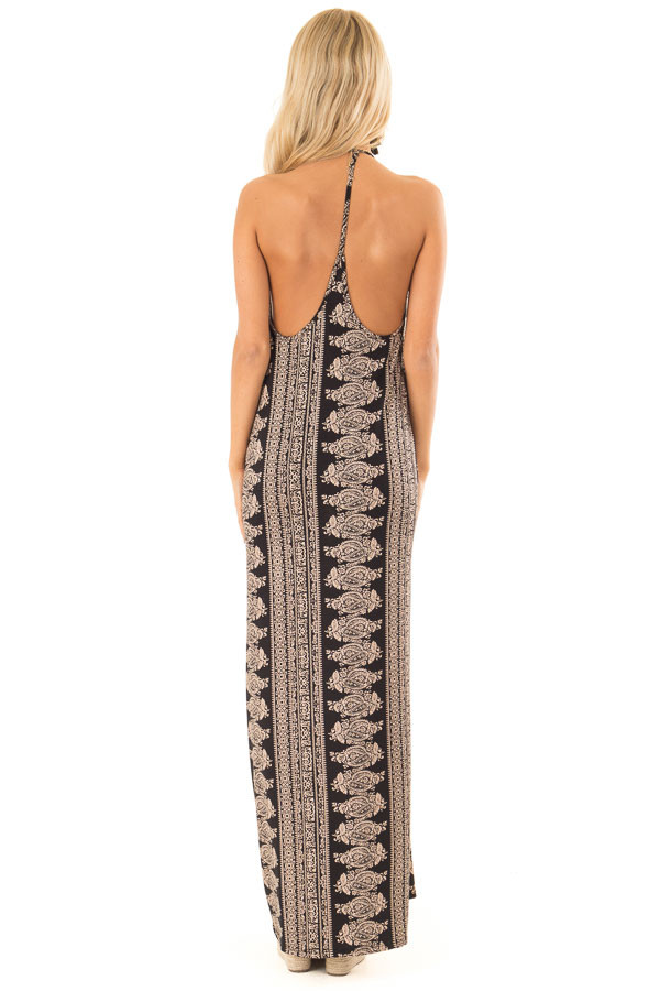 Taupe and Black Boho Print Maxi Dress with Pockets back full body