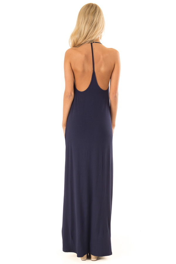 Deep Navy Maxi Dress with Back T Strap Detail back full body
