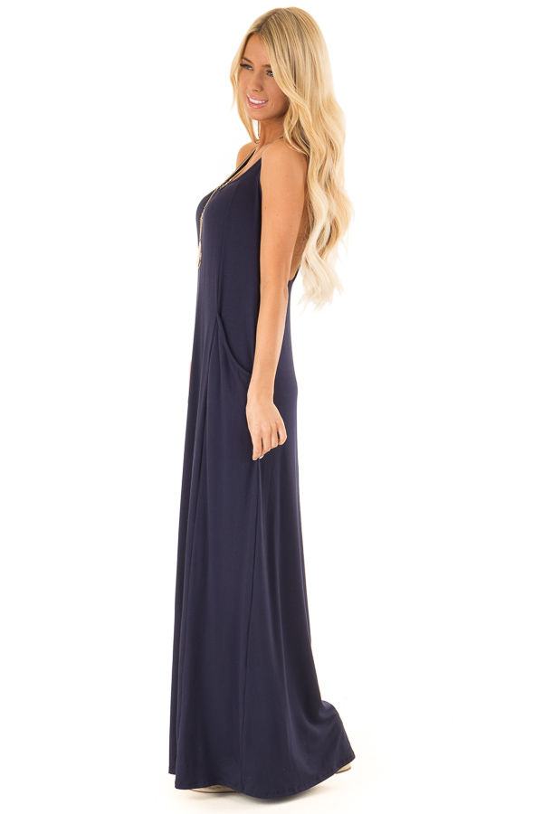 Deep Navy Maxi Dress with Back T Strap Detail side full body