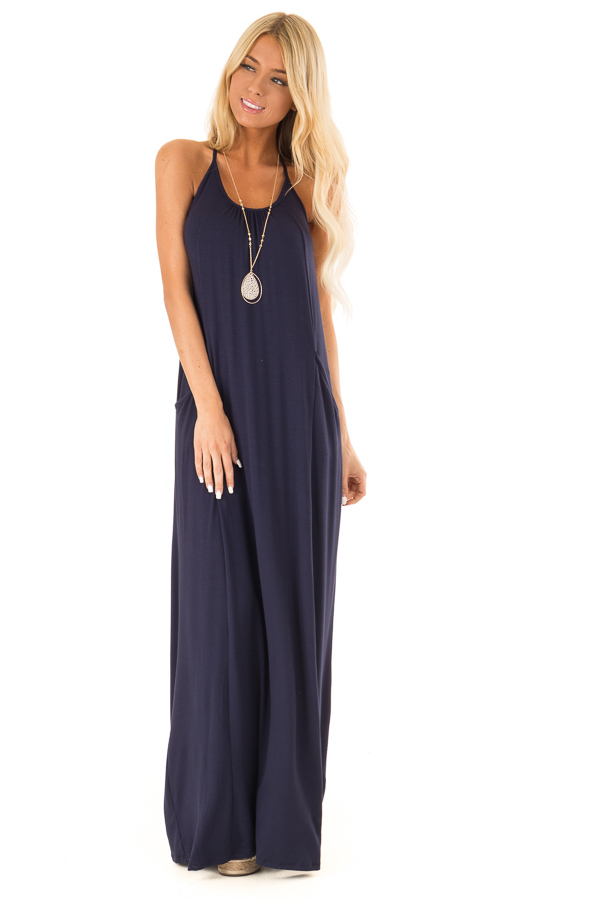 Deep Navy Maxi Dress with Back T Strap Detail front full body