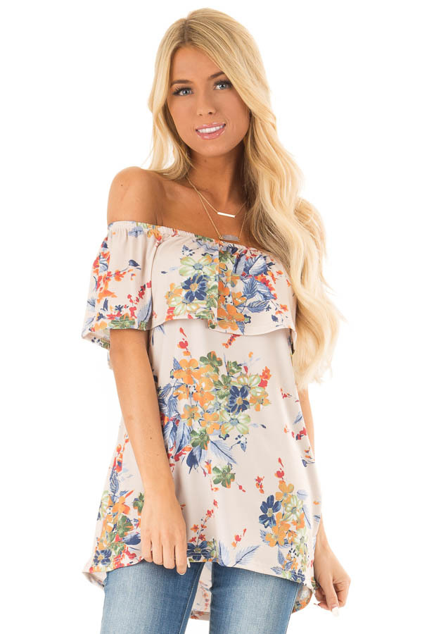 8c4272a04ccf Sandy Floral Off the Shoulder Top with Ruffle Detail - Lime Lush ...