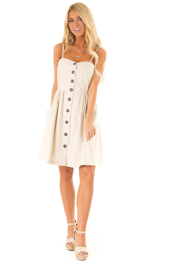 Oatmeal Spaghetti Strap Button Up Dress with Front Pockets front full body