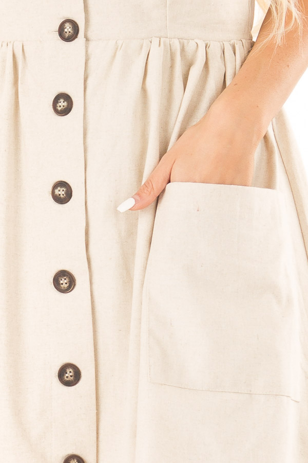 Oatmeal Spaghetti Strap Button Up Dress with Front Pockets detail