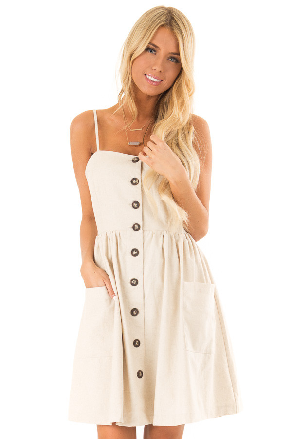 Oatmeal Spaghetti Strap Button Up Dress with Front Pockets front close up