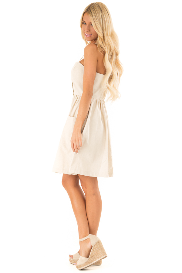 Oatmeal Spaghetti Strap Button Up Dress with Front Pockets side full body
