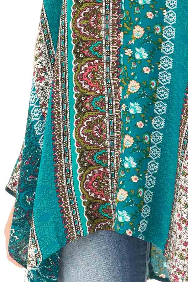 Aqua and Ivory Boho Print Tank Top with Back Strap Detail detail