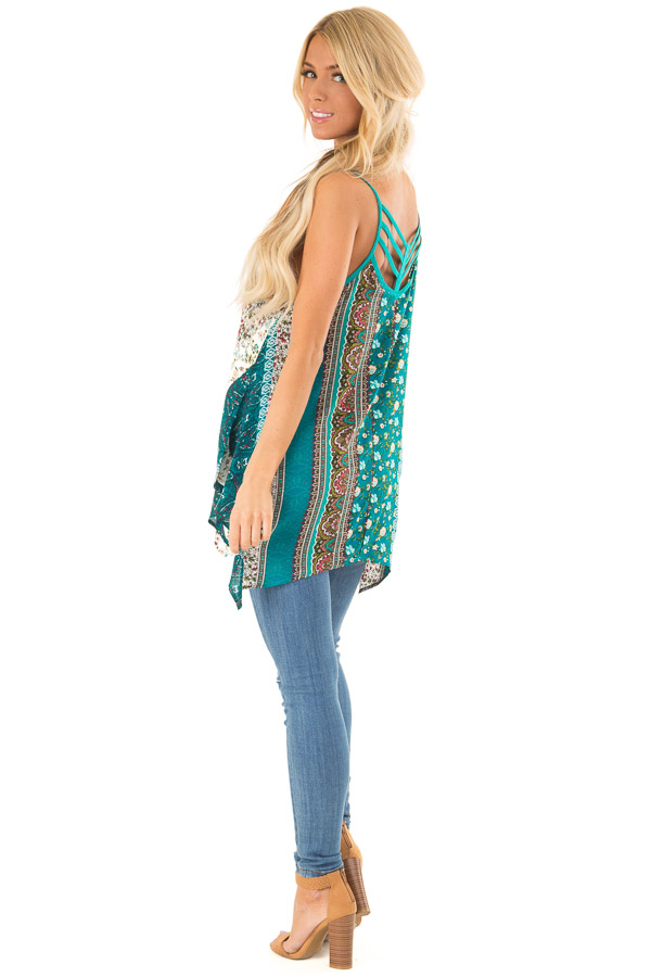 Aqua and Ivory Boho Print Tank Top with Back Strap Detail side full body