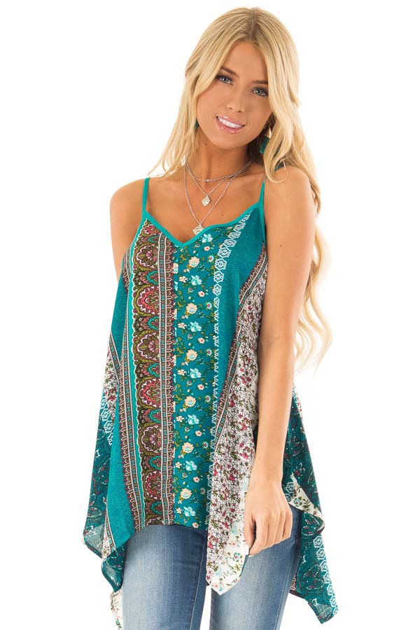 Aqua and Ivory Boho Print Tank Top with Back Strap Detail front close up