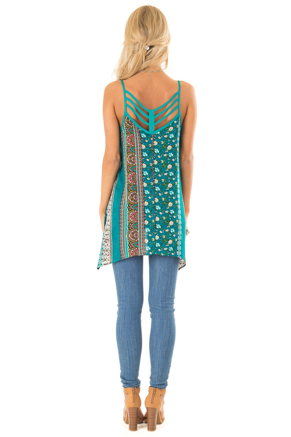 Aqua and Ivory Boho Print Tank Top with Back Strap Detail back full body