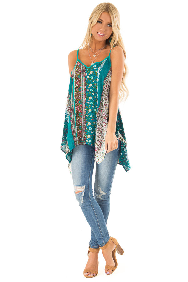 Aqua and Ivory Boho Print Tank Top with Back Strap Detail front full body