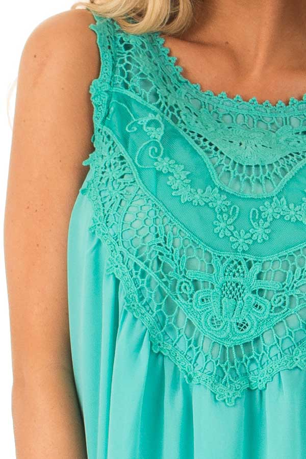 Teal Sleeveless Chiffon Tank Top with Crochet Details detail