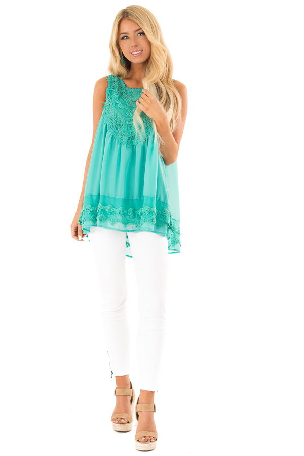 Teal Sleeveless Chiffon Tank Top with Crochet Details front full body