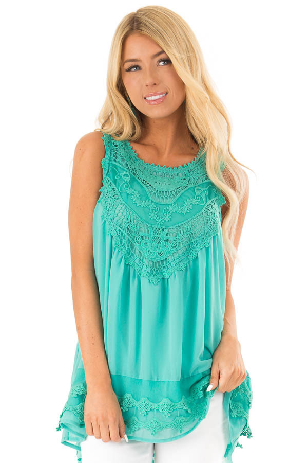 Teal Sleeveless Chiffon Tank Top with Crochet Details front close up