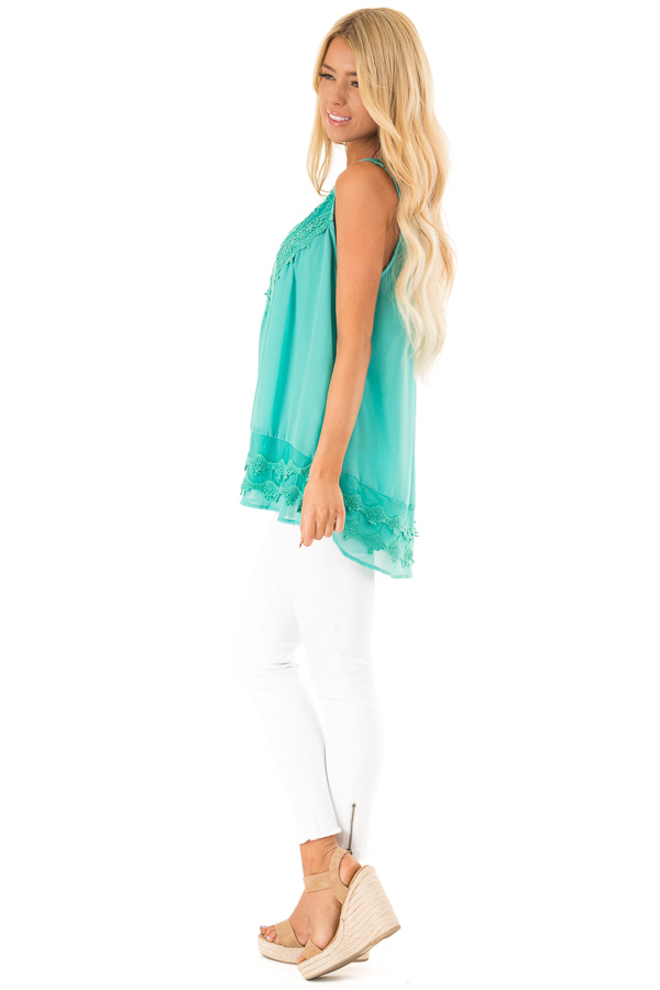 Teal Sleeveless Chiffon Tank Top with Crochet Details side full body