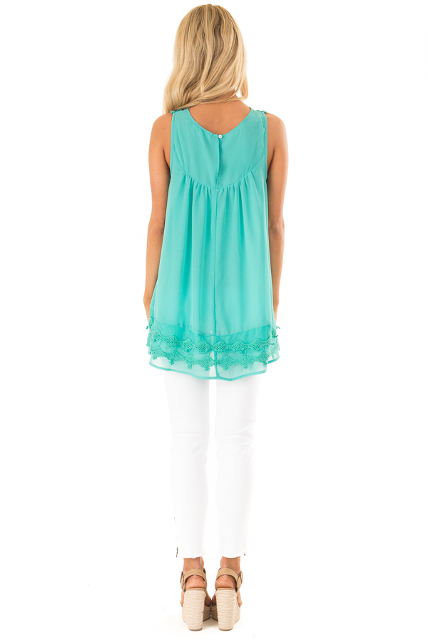 Teal Sleeveless Chiffon Tank Top with Crochet Details back full body