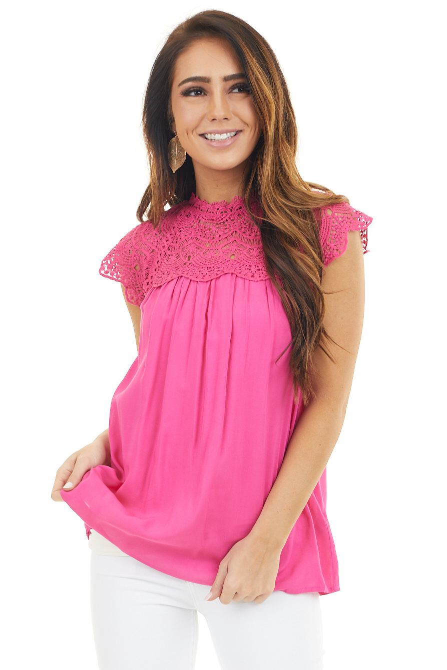 Magenta Short Sleeve Mock Neck Top with Lace Detail
