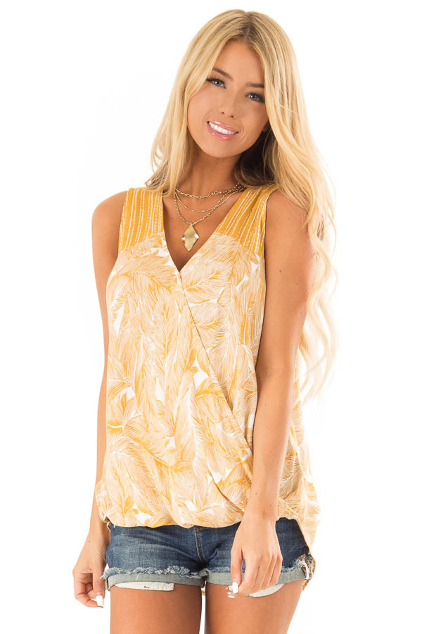 Mustard Feather Print Surplice Tank Top with V Neckline front close up