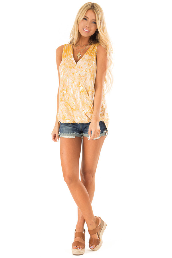 Mustard Feather Print Surplice Tank Top with V Neckline front full body