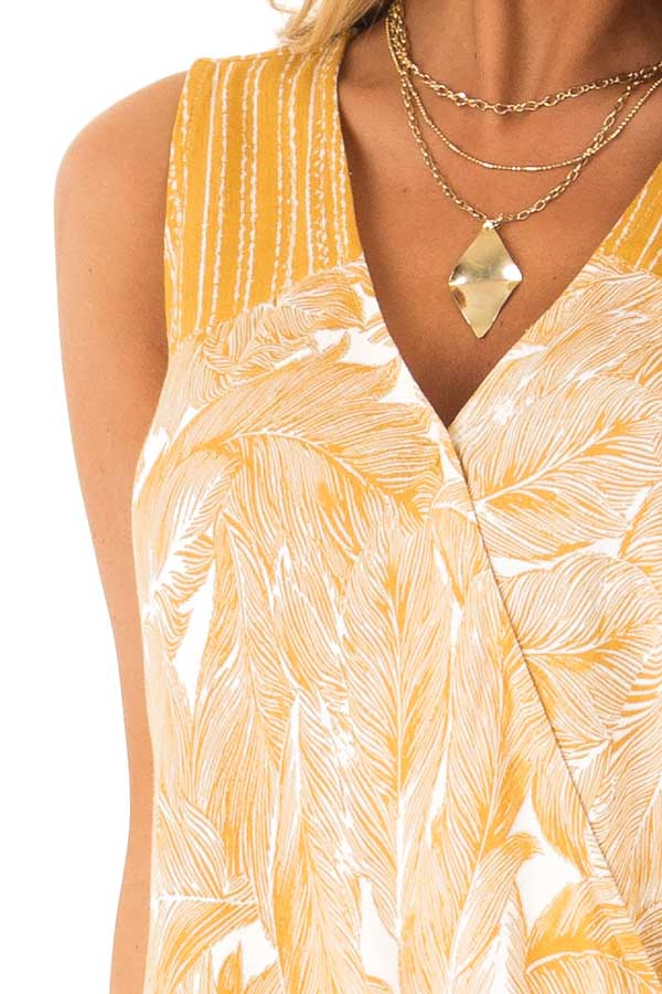 Mustard Feather Print Surplice Tank Top with V Neckline detail
