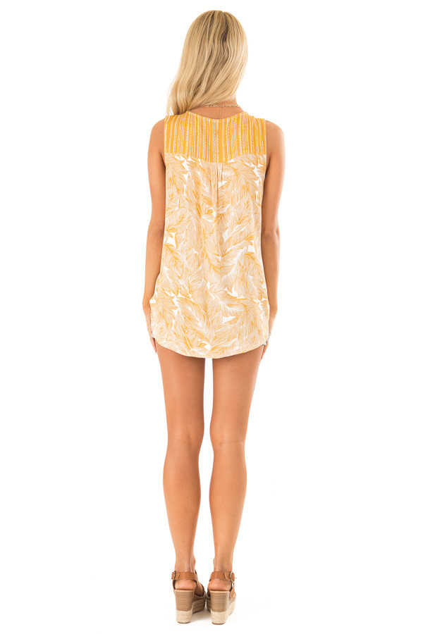 Mustard Feather Print Surplice Tank Top with V Neckline back full body