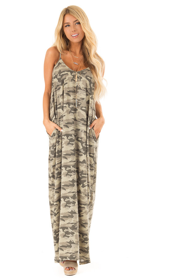 Army Green Camo Print Maxi Dress with Pockets front full body