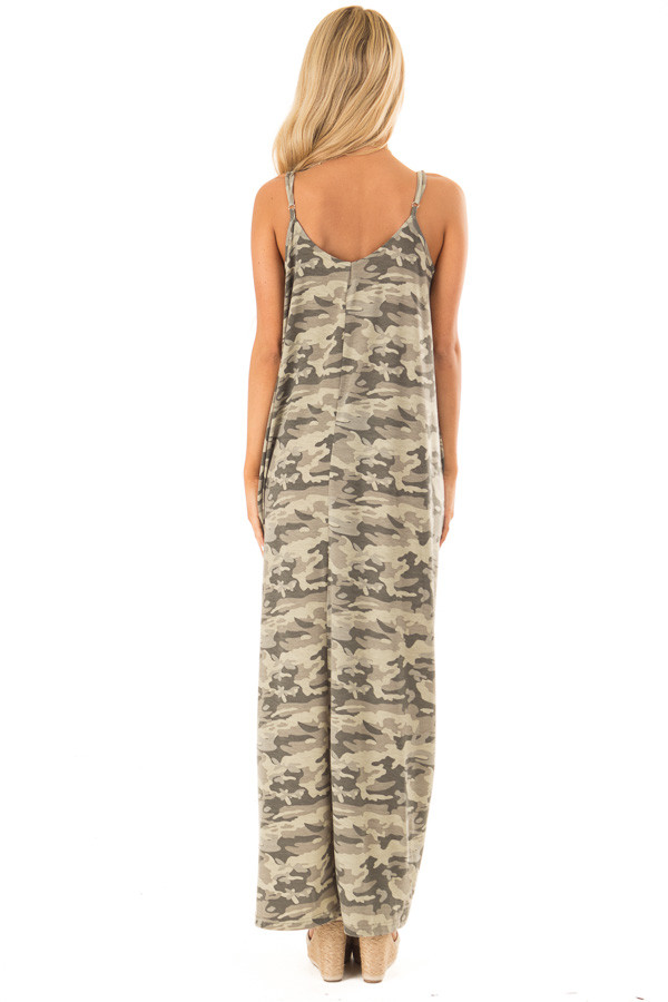 Army Green Camo Print Maxi Dress with Pockets back full body