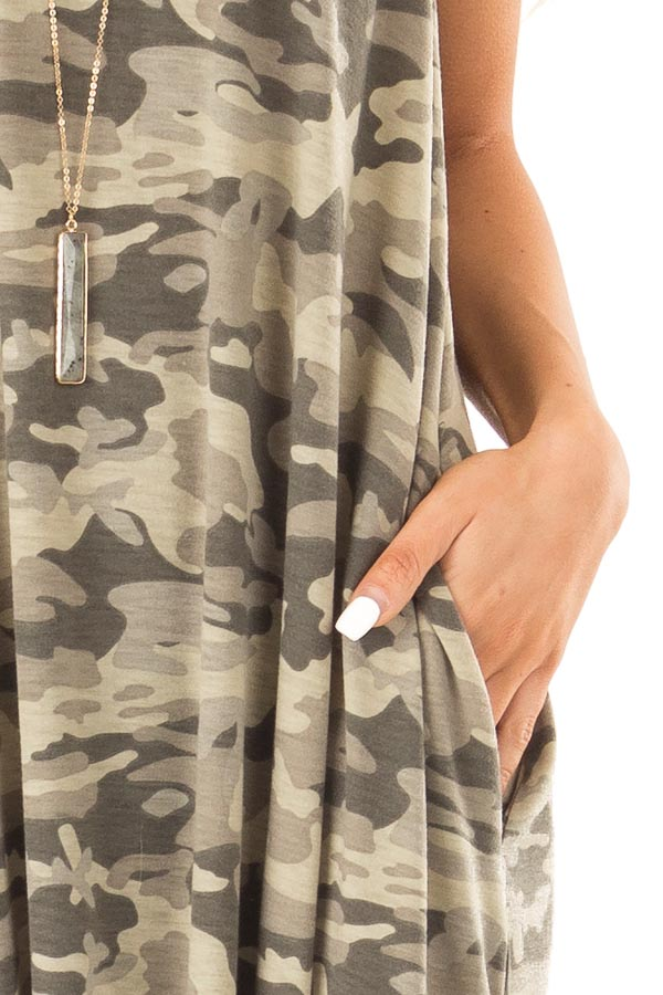 Army Green Camo Print Maxi Dress with Pockets detail