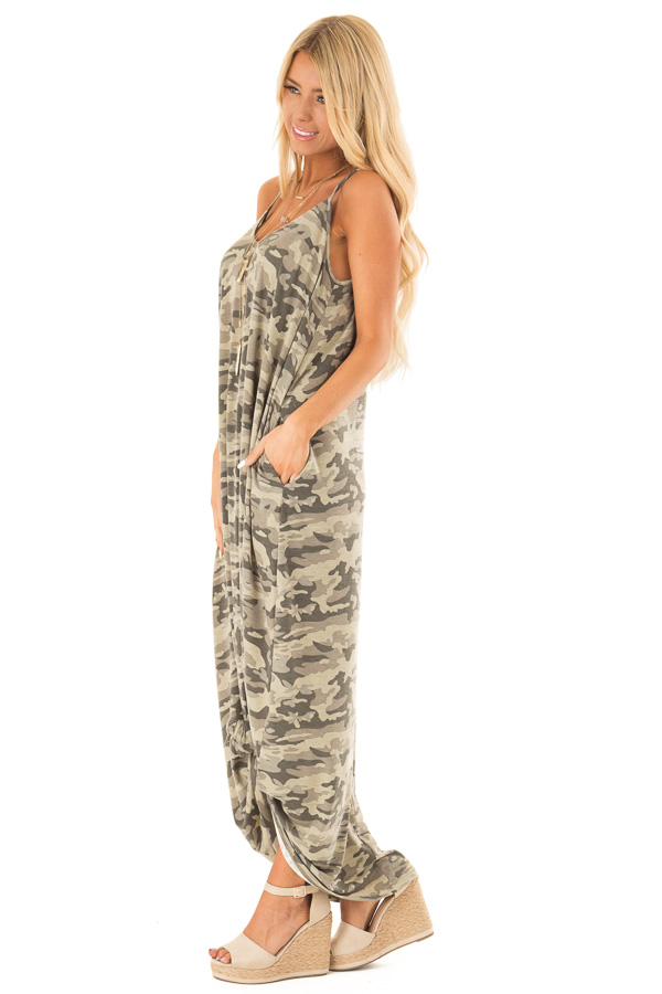 Army Green Camo Print Maxi Dress with Pockets side full body