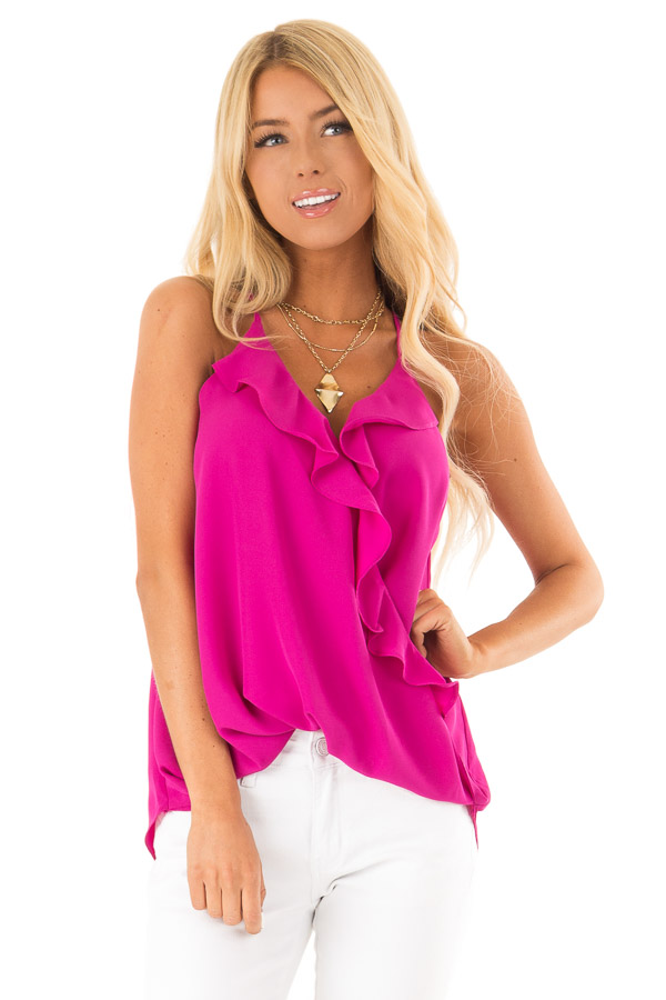 Magenta Surplice Tank Top with Ruffle Detail front close up