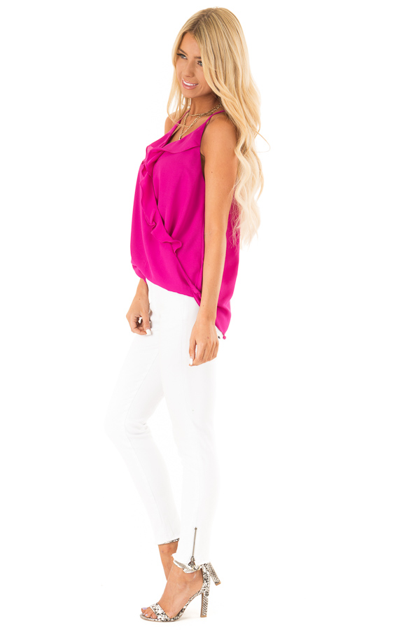 Magenta Surplice Tank Top with Ruffle Detail side full body