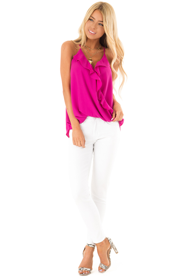 Magenta Surplice Tank Top with Ruffle Detail front full body