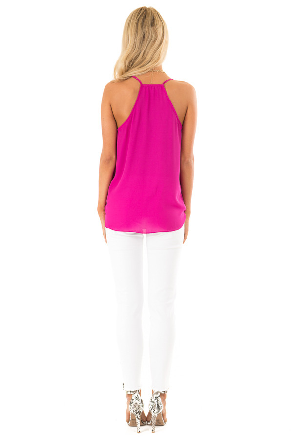 Magenta Surplice Tank Top with Ruffle Detail back full body