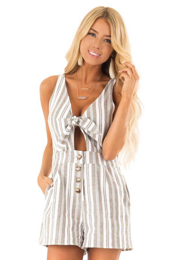 Dusty Olive and Ivory Striped Romper with Button Details front close up