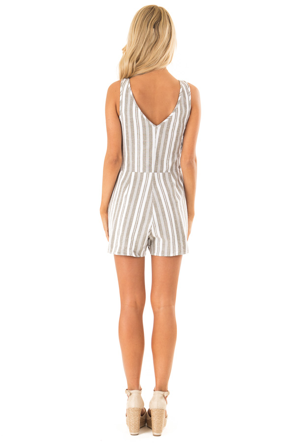 Dusty Olive and Ivory Striped Romper with Button Details back full body
