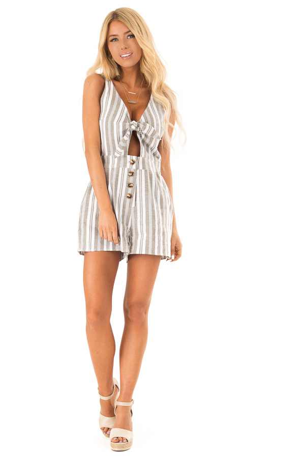 Dusty Olive and Ivory Striped Romper with Button Details front full body