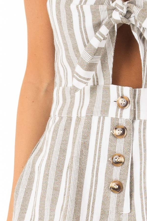 Dusty Olive and Ivory Striped Romper with Button Details detail