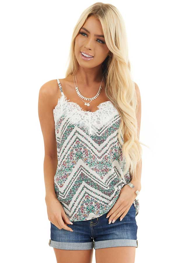 Porcelain and Forest Green Floral Tank top with Eyelash Lace front close up