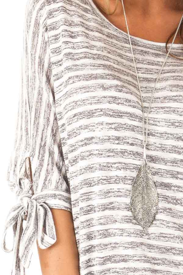 Heather Grey and White Striped Top with Strappy Back Detail detail