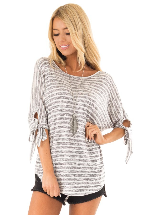 Heather Grey and White Striped Top with Strappy Back Detail front close up