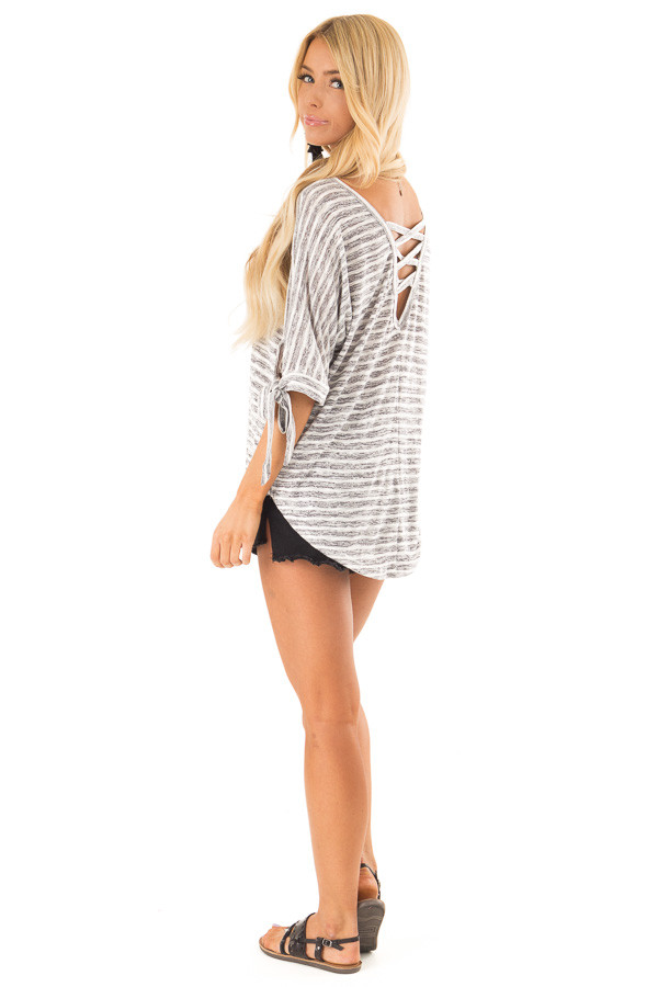 Heather Grey and White Striped Top with Strappy Back Detail side full body