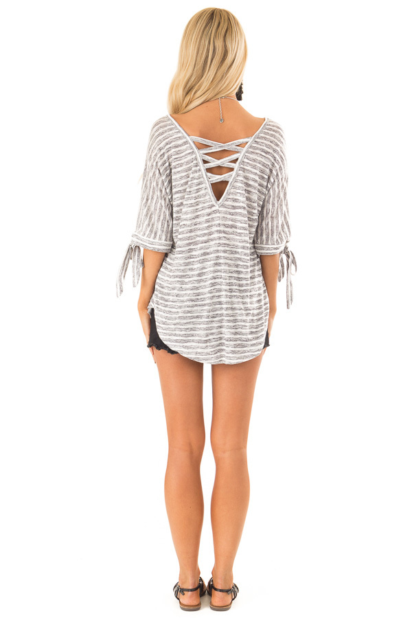 Heather Grey and White Striped Top with Strappy Back Detail back full body