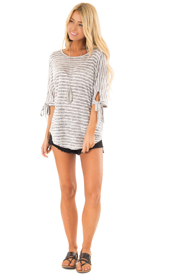 Heather Grey and White Striped Top with Strappy Back Detail front full body