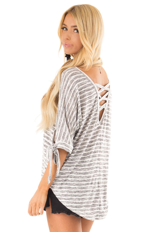 Heather Grey and White Striped Top with Strappy Back Detail side close up