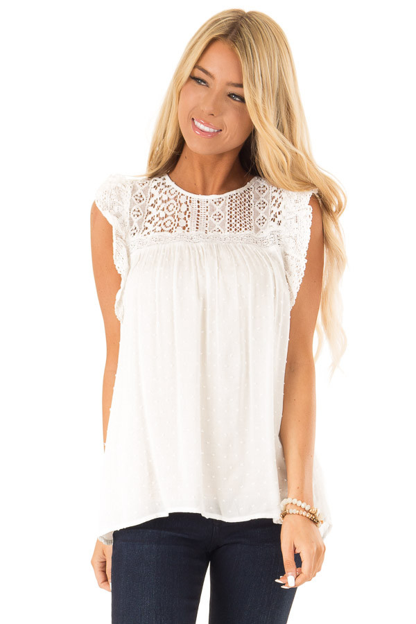 Porcelain Babydoll Top with Sheer Lace Yoke and Swiss Dots front close up
