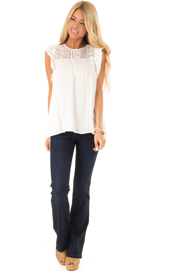 Porcelain Babydoll Top with Sheer Lace Yoke and Swiss Dots front full body