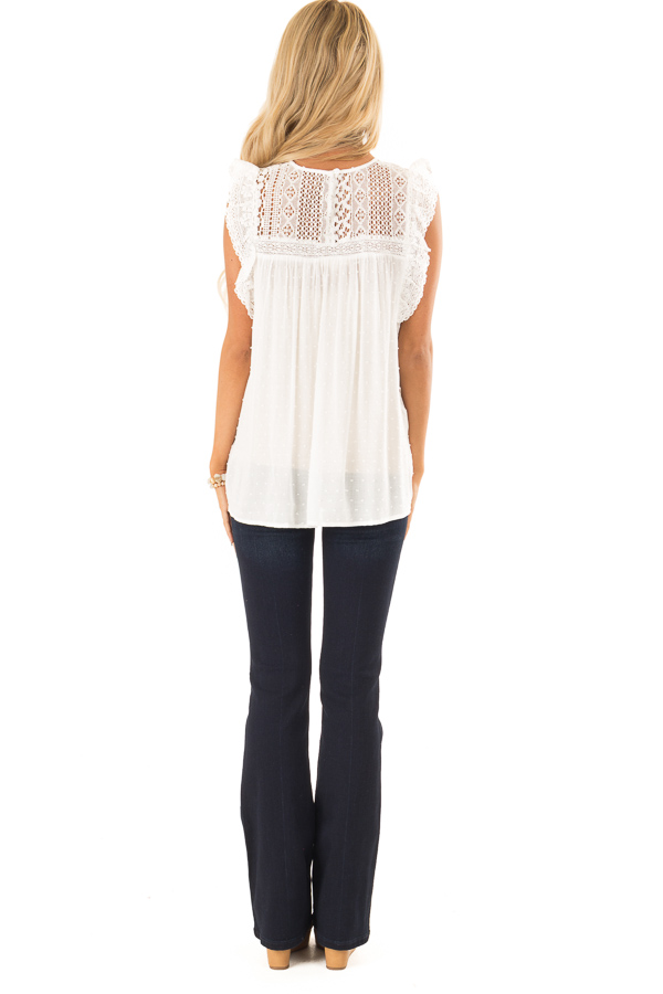 Porcelain Babydoll Top with Sheer Lace Yoke and Swiss Dots back full body