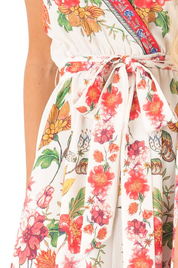 Ivory Floral Spaghetti Strap Short Dress with Waist Tie detail