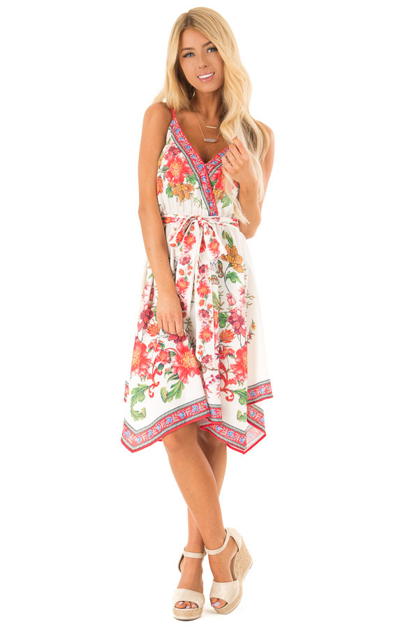 Ivory Floral Spaghetti Strap Short Dress with Waist Tie front full body